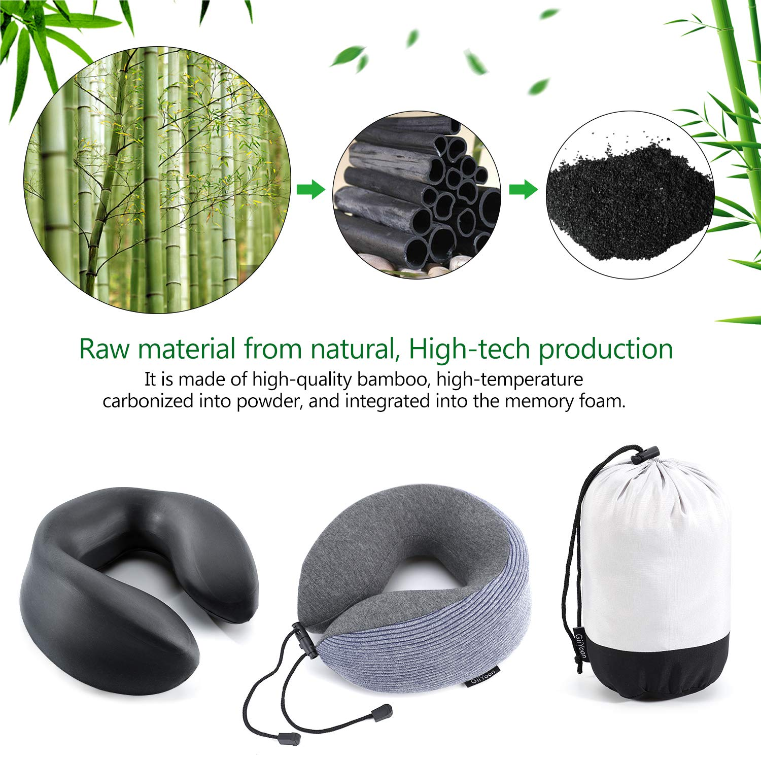 Soft and Comfortable U-Shape Neck Pillow for Airplane Travel Ergonomic Design can 360/° Support Head,Neck and Chin Black Upgraded Bamboo Charcoal Memory Foam Pillow Core GiiYoon Travel Pillow