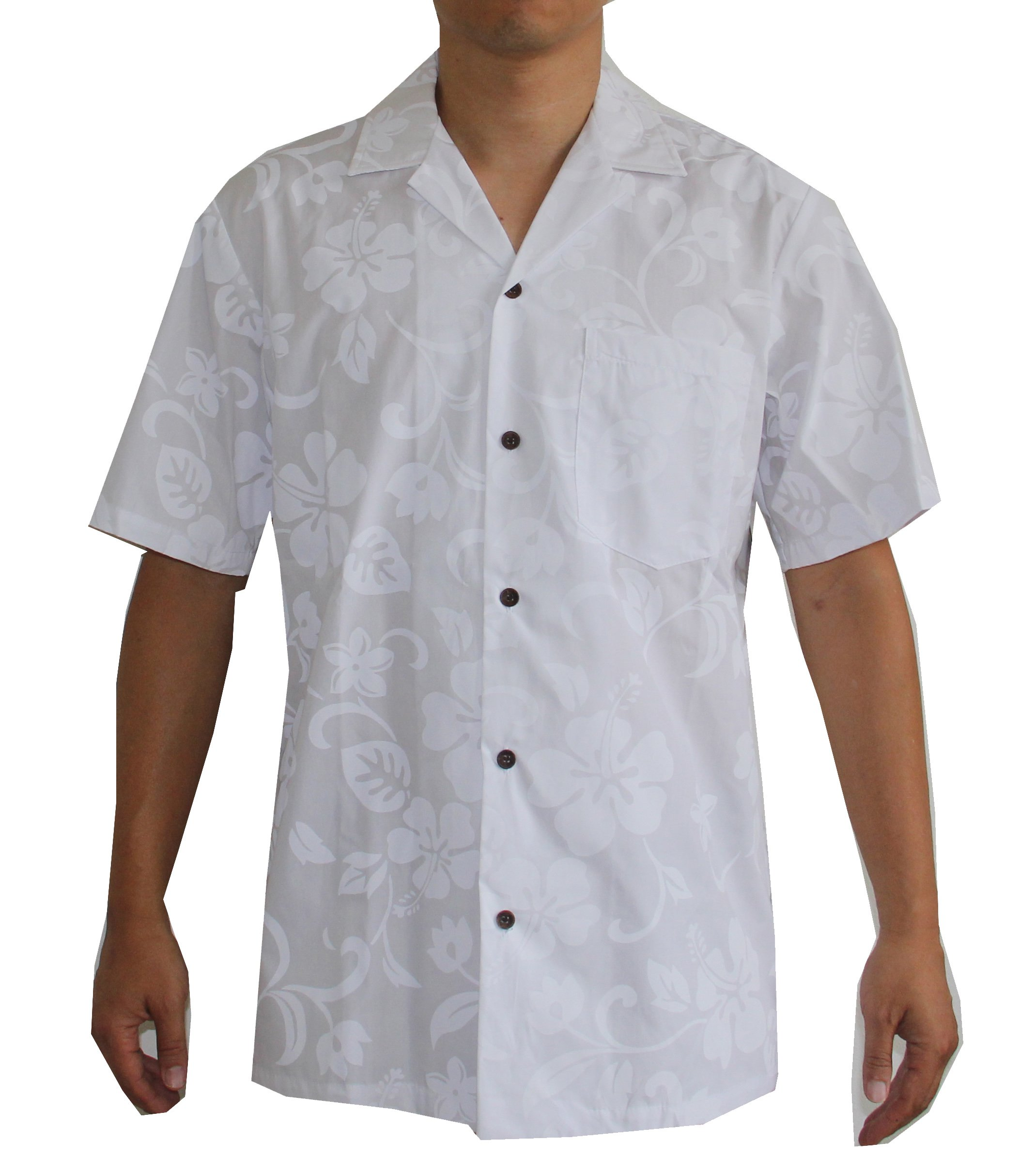 Alohawears Clothing Company Men's White Wedding Hawaiian Aloha Shirt (L)