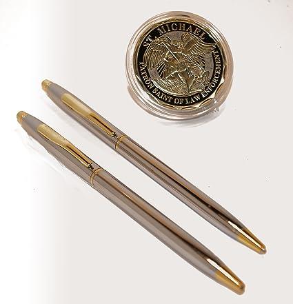 Cromo y oro Policía uniforme bolígrafos con San Miguel de ...