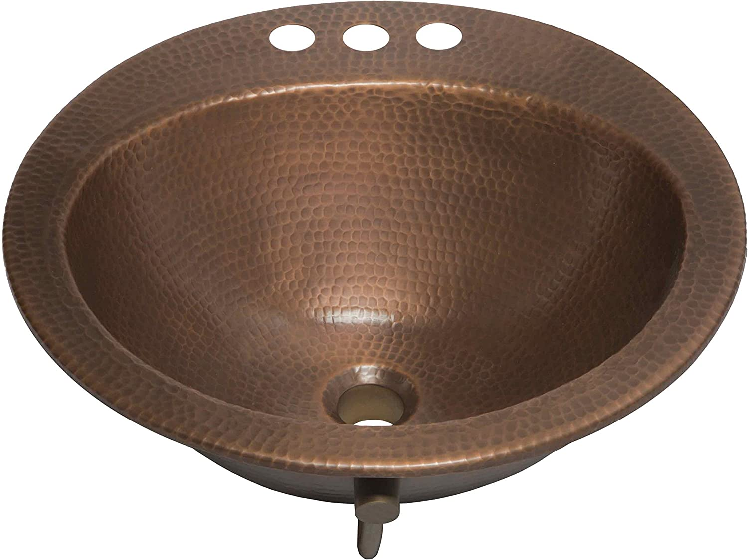 sinkology sb101 19ac bell drop in handmade 4 faucet holes and overflow 19 antique copper bath sink