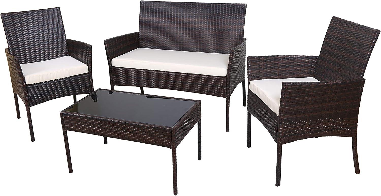 ECOLINEAR 4 PCS Outdoor Patio Furniture Wicker Sofa Set Conversation Seat (Brown Mix Black)