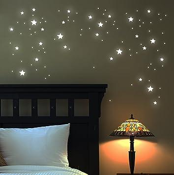 Leuchtende Wandtattoos leuchtsterne wandtattoo sterne 100 stk fluoreszierend leuchtende