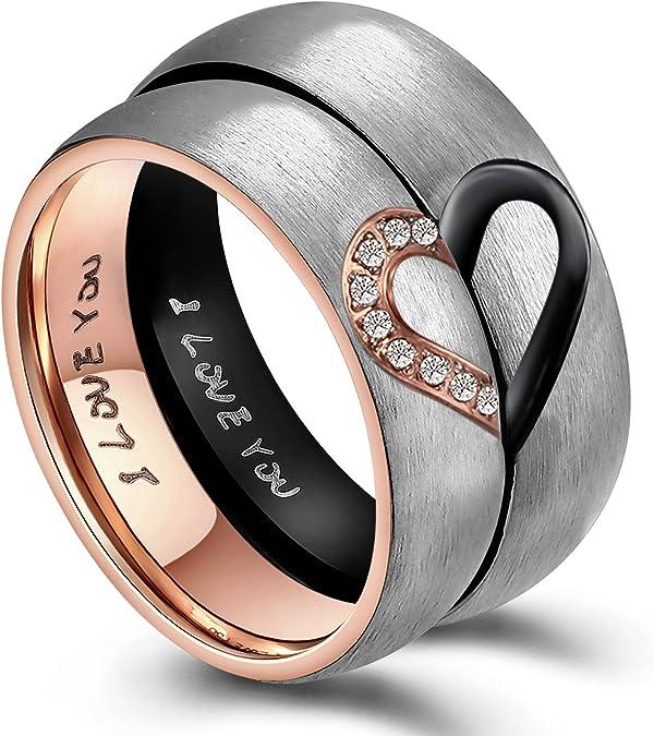 Rose Couleur or deux anneaux femme homme élégant en Acier Inoxydable Zircone Cubique Pierre Mariage