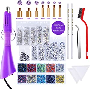 Hotfix Applicator with Rhinestones, Cridoz Hot Fix Rhinestone Applicator Tool Kit with 4028Pcs Rhinestones, 7 Different Sizes Tips, Tweezers, Rhinestone Picker Pens and Brush for Cloth Bedazzler Craft