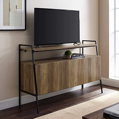 Walker Edison Arlo Modern Industrial Wood Universal Stand with Open TV s up to 58 Flat Screen Living Room Storage Entertainment Center, 52 , Reclaimed Barnwood
