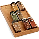 Seville Classics Bamboo Eco-Conscious 3-Tier Spice & Seasoning Rack Drawer Organizer Kitchen Home Pantry Tray Countertop and
