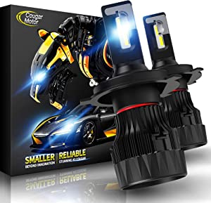 Cougar Motor X-Small H4 LED Headlight Bulb, 10000Lm 6500K (9003 Hi/Lo) All-in-One Conversion Kit - Cool White CREE