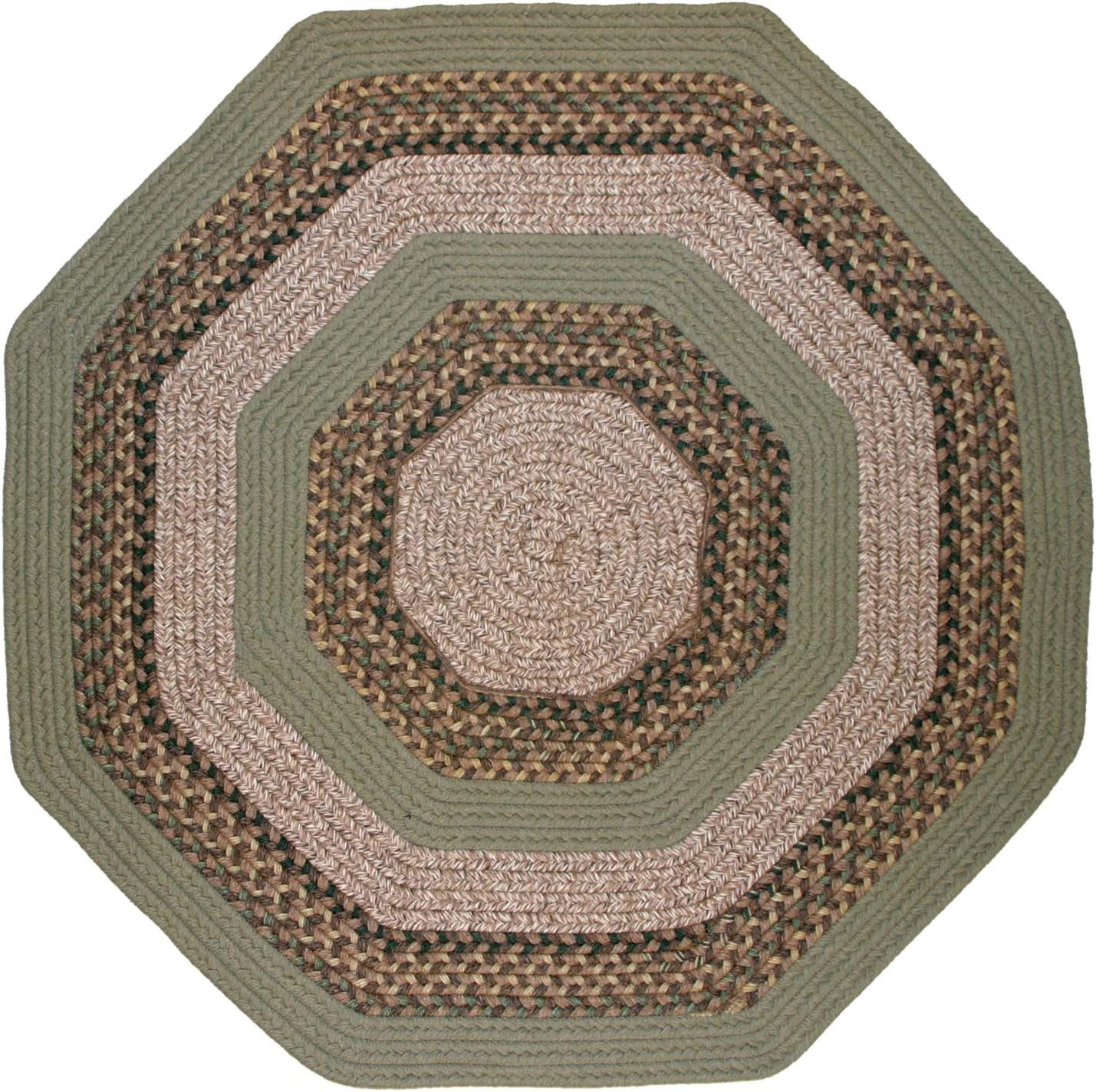 Thorndike Mills Beantown Braided Rug 10' x 10' Octagon Boston Garden Green
