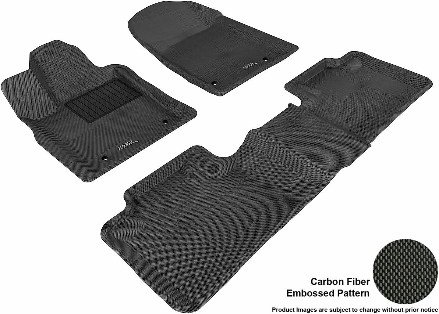 3D MAXpider Complete Set Custom Fit All-Weather Floor Mat for Select Dodge Durango Models - Kagu Rubber (Black)