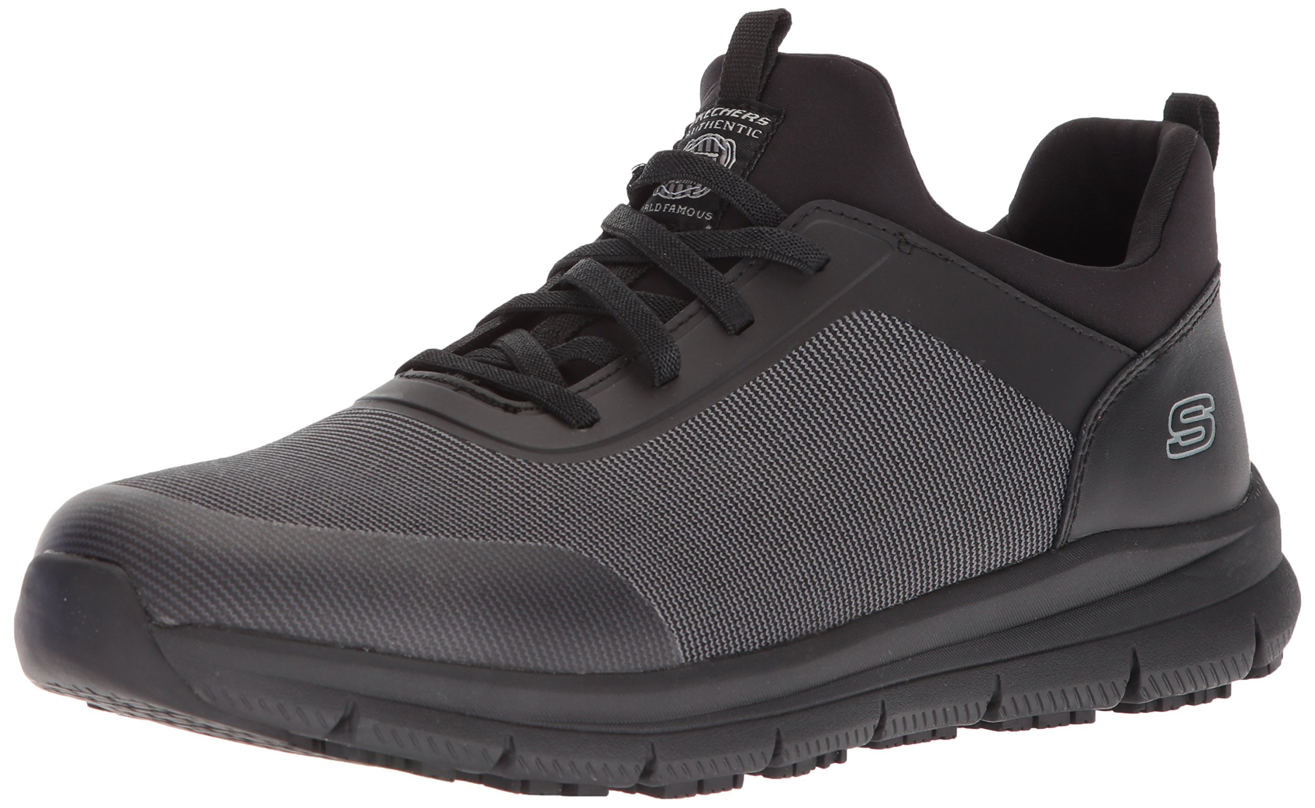 Skechers for Work Men's Wishaw Food Service Shoe,Black Charcoal Textile,9.5 M US by Skechers
