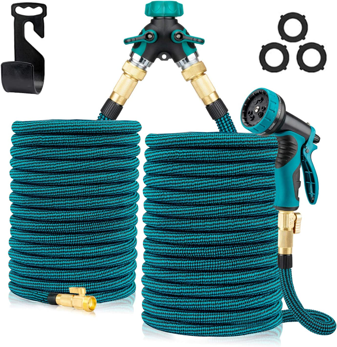 2Pcs x 50Ft Flexible Expanding Garden Hose, Strength Stretch Fabric Pipe for Watering & Car Washing, Nozzle Solid Brass Connector and High-Pressure Water Spray Nozzle, 2 Way Splitter (Blue Black)