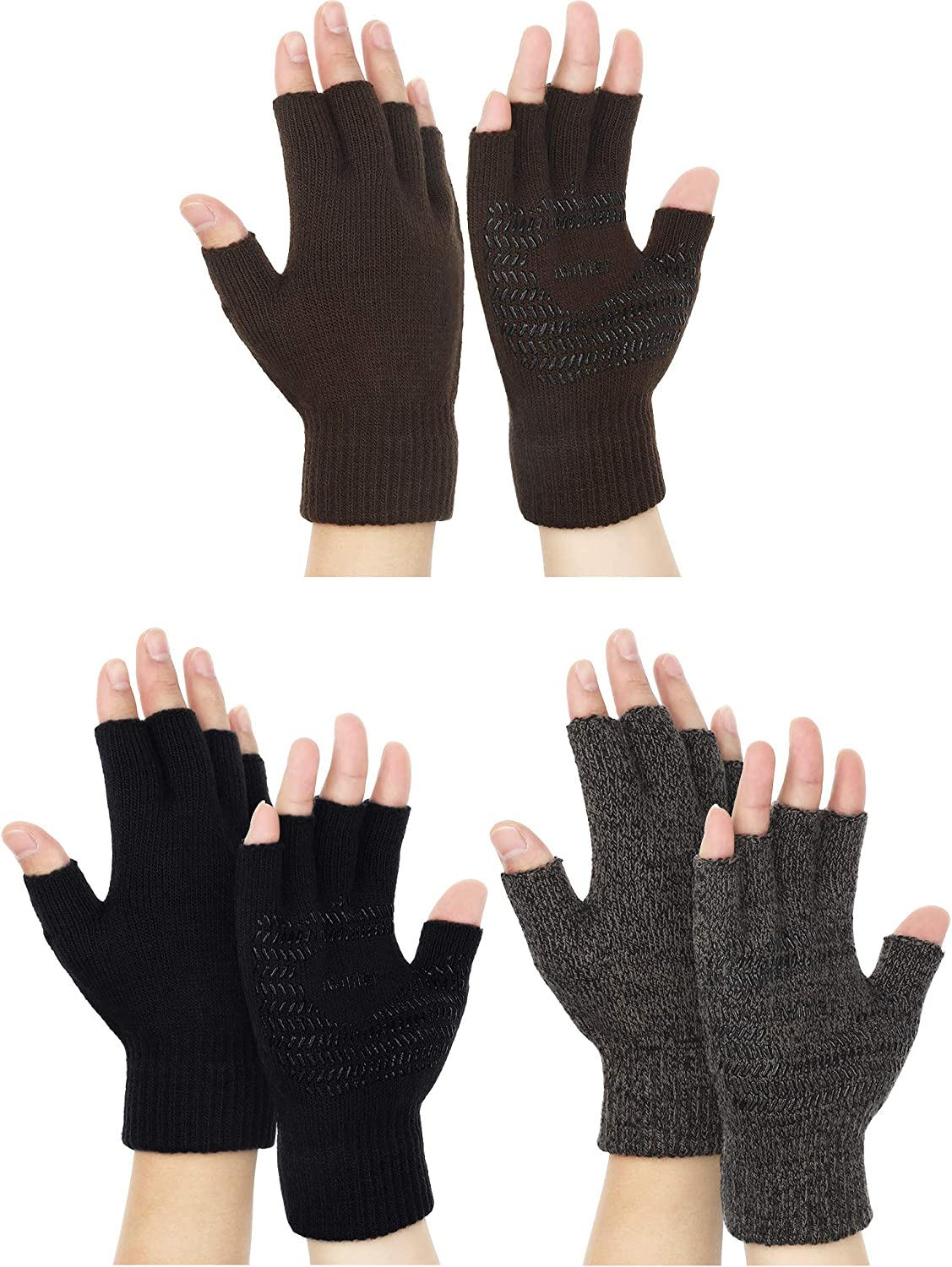 3 Pairs Winter Half Finger Knit Glove Stretchy Anti-Slip Fingerless Mitten for Unisex