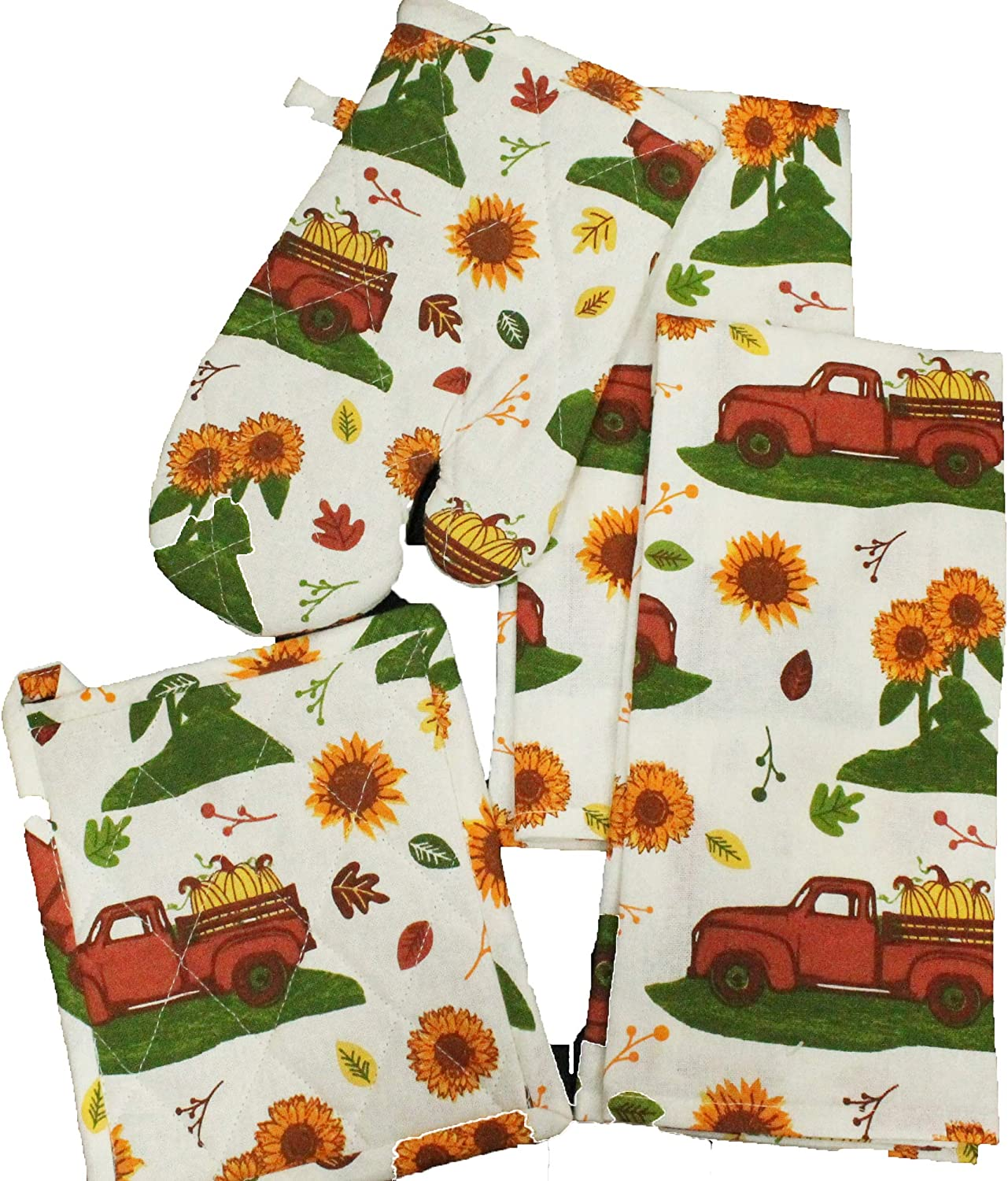 Twisted Anchor Trading Co 4 Pc Vintage Truck Fall Autumn Pumpkins and Sunflower Kitchen Towel Set - 2019 - Includes Pot Holder, 2 Fall Kitchen Towel, and Oven Mitt
