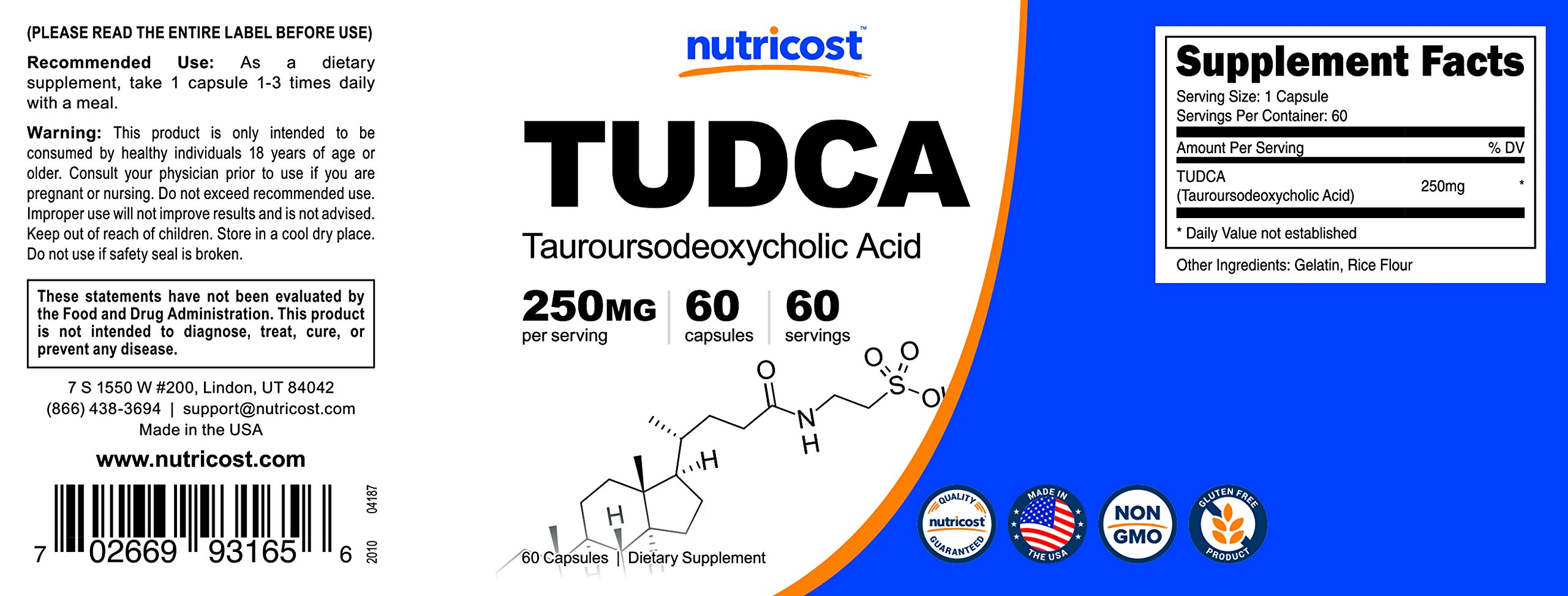 Nutricost Tudca 250mg, 60 Capsules (2 Bottles) by Nutricost (Image #6)