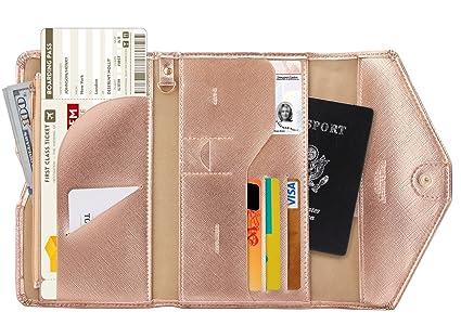 Zoppen RFID Blocker Reisepasshülle (Ver.4) Passport Hülle Halter dreifach Dokumente Organizer, #5 Rosengold