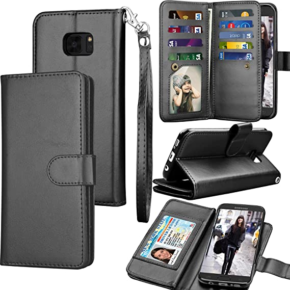 best service b48b2 4005f Tekcoo for Galaxy S7 Case/Galaxy S7 Wallet Case, Luxury ID Cash Credit Card  Slots Holder Purse Carrying PU Leather Folio Flip Cover [Detachable ...