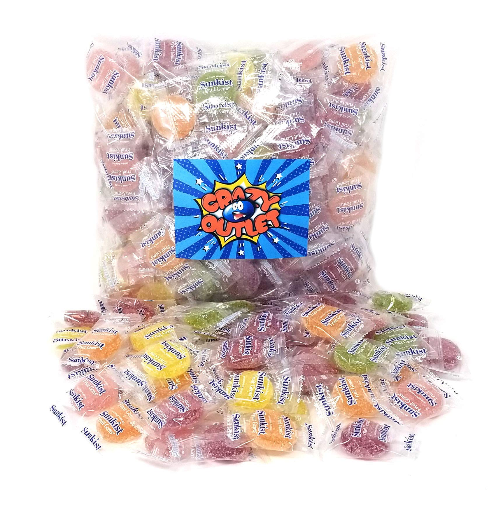 CrazyOutlet Pack - Sunkist Fruit Gems Candy, Kosher, All Natural Flavors, Individually Wrapped, 2 lbs