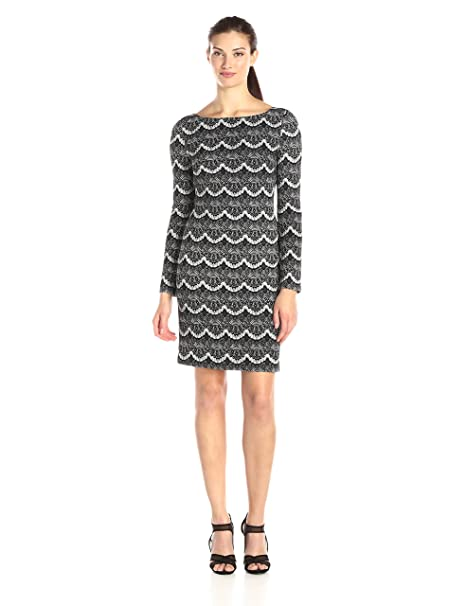 Jessica Howard Womens Bateau Neck Lace Print Dress