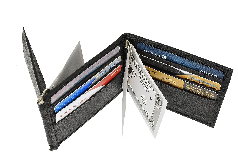 Marshal Leather Mens Wallet Bifold Money Clip Black credit card Organza Bag