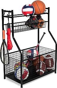 BIRDROCK HOME Sports Equipment Storage Rack - Steel Ball Storage Rack - Garage Ball Storage - Sports Gear Storage - Garage Organizer with Baskets and Hooks