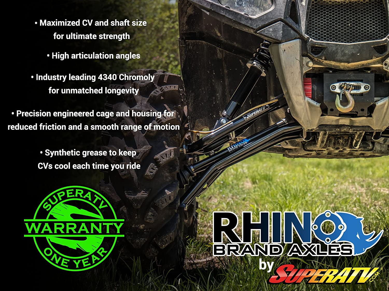 Stock Length FRONT LEFT 2X Stronger Than Stock! SuperATV Heavy Duty Rhino Brand Axle for Honda Rincon 650//680 and Rubicon 500 and Foreman 500