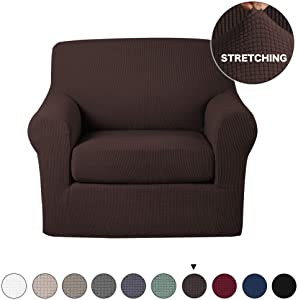 Turquoize Armchair Slipcover 2 Piece Couch Cover with Separate Seat Cushion Cover Spandex Furniture Protector Machine Washable Feature Jacquard Small Checked Sofa Slipcover/Protector (Chair, Brown)