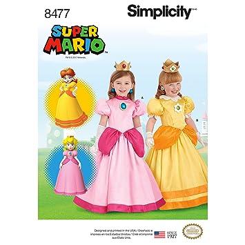 Kind Super Mario Prinzessinnen Kostüm | Größe 3–8 | Simplicity ...