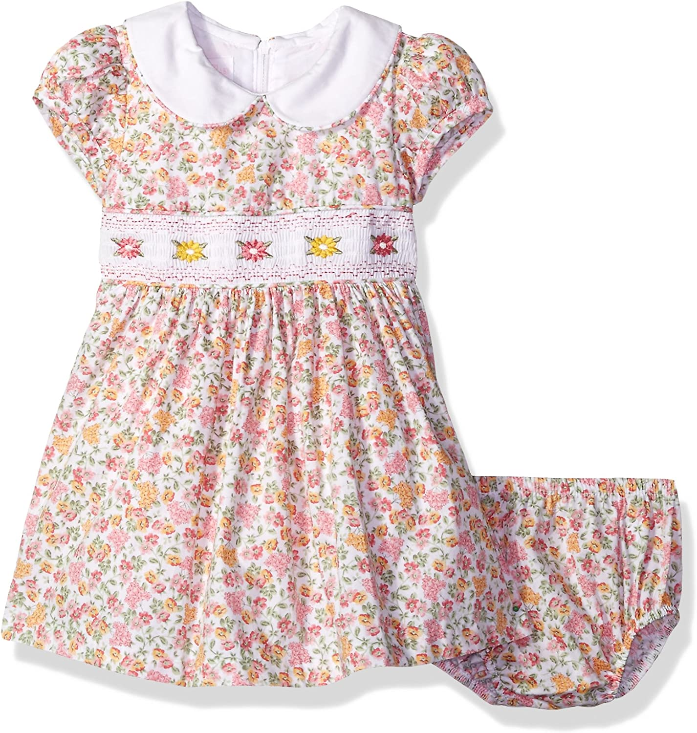 Bonnie Baby Baby Girls Smocked Waist Dress with Panty Casual