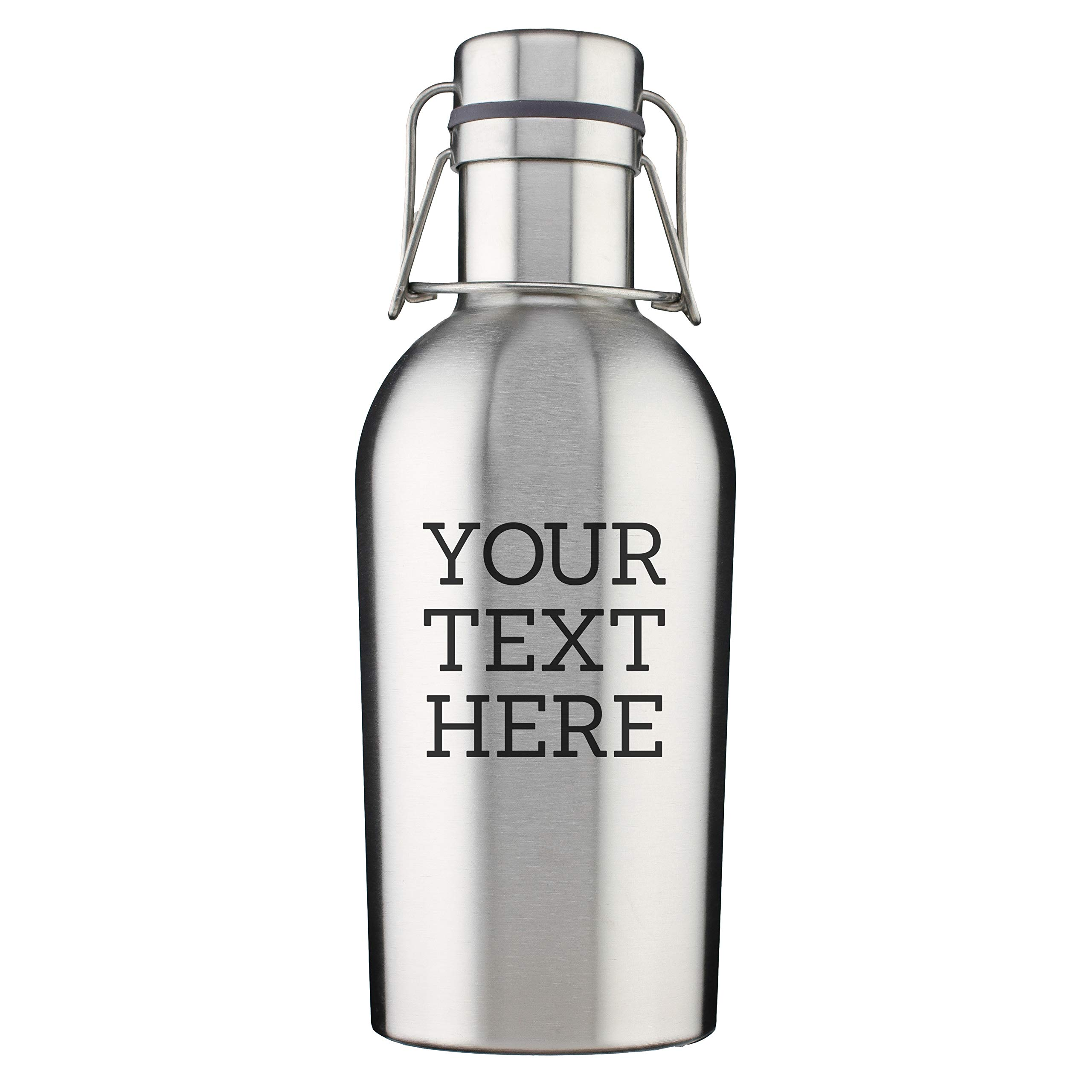 Personalized Etched Custom Message 32oz Stainless Steel Growler