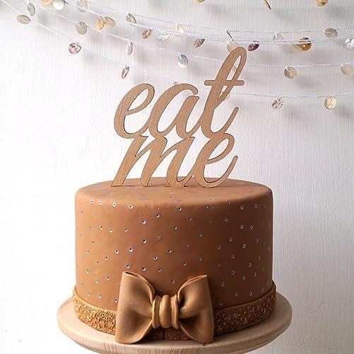Amazon Com Wedding Cake Topper Wooden Eat Me Cake Topper Simple