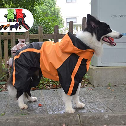 KOOLTAIL Dog Rain Coat Hooded with Reflective Strip Waterproof Dog Jumpsuit Raincoat Adjustable Lightweight Breathable Rain Jacket Rainwear for Small Medium Large Dogs Medium
