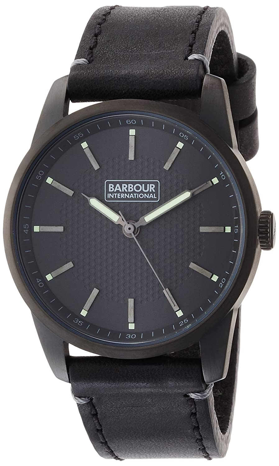 Barbour Bb026gnbk Jarrow Herrenuhr Schwarz Leder Leather