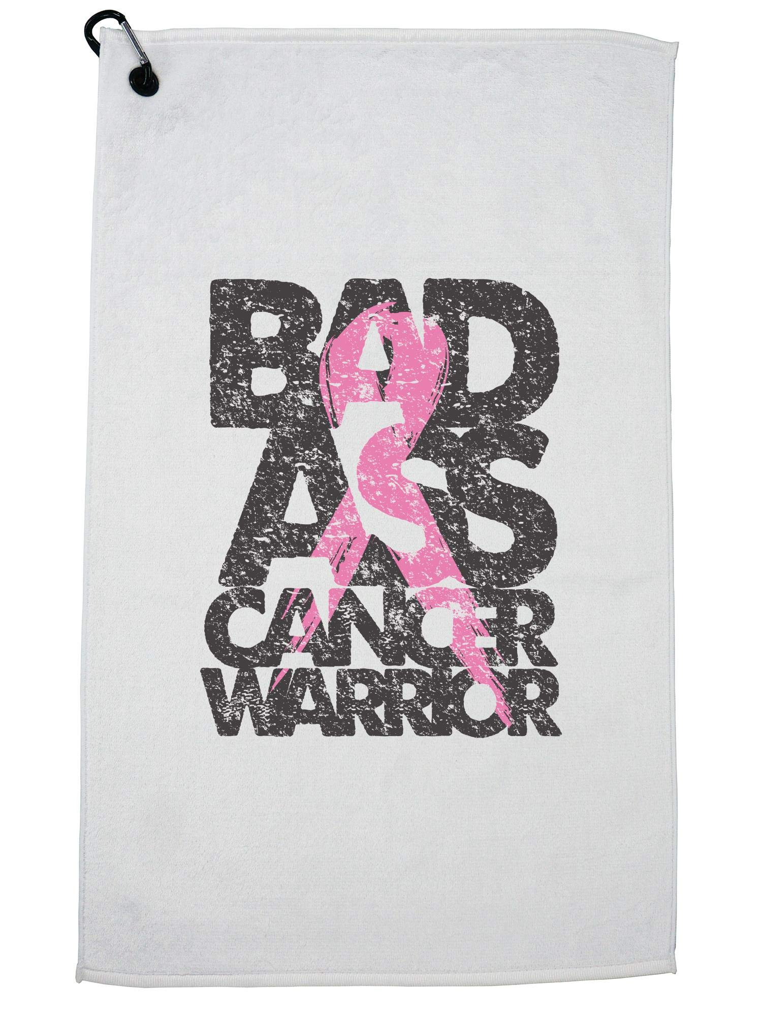 Hollywood Thread Bad Ass Breast Cancer Warrior Pink Support Golf Towel with Carabiner Clip