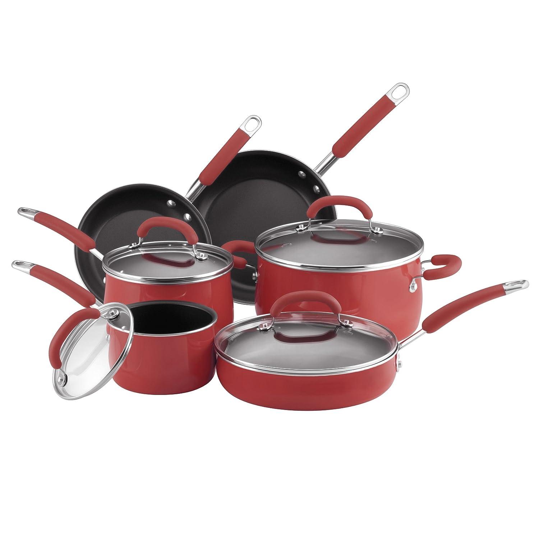 Amazon Com Rachael Ray Porcelain Enamel Nonstick 10 Piece Cookware Set Red Rachel Ray Cookware Kitchen Dining