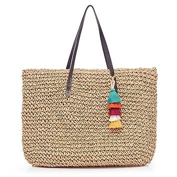 6a1939793294a LONGBLE Damen Schultertasche Rattan Tasche Stroh Sommer Strandtasche Urlaub  Umhängetasche Korbtasche Shopper Handtaschen mit Quasten Geschenk