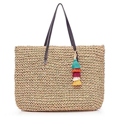 0462b5eec5a9 Womens Classic Straw Handbag Summer Beach Sea Holiday Woven Shoulder ...