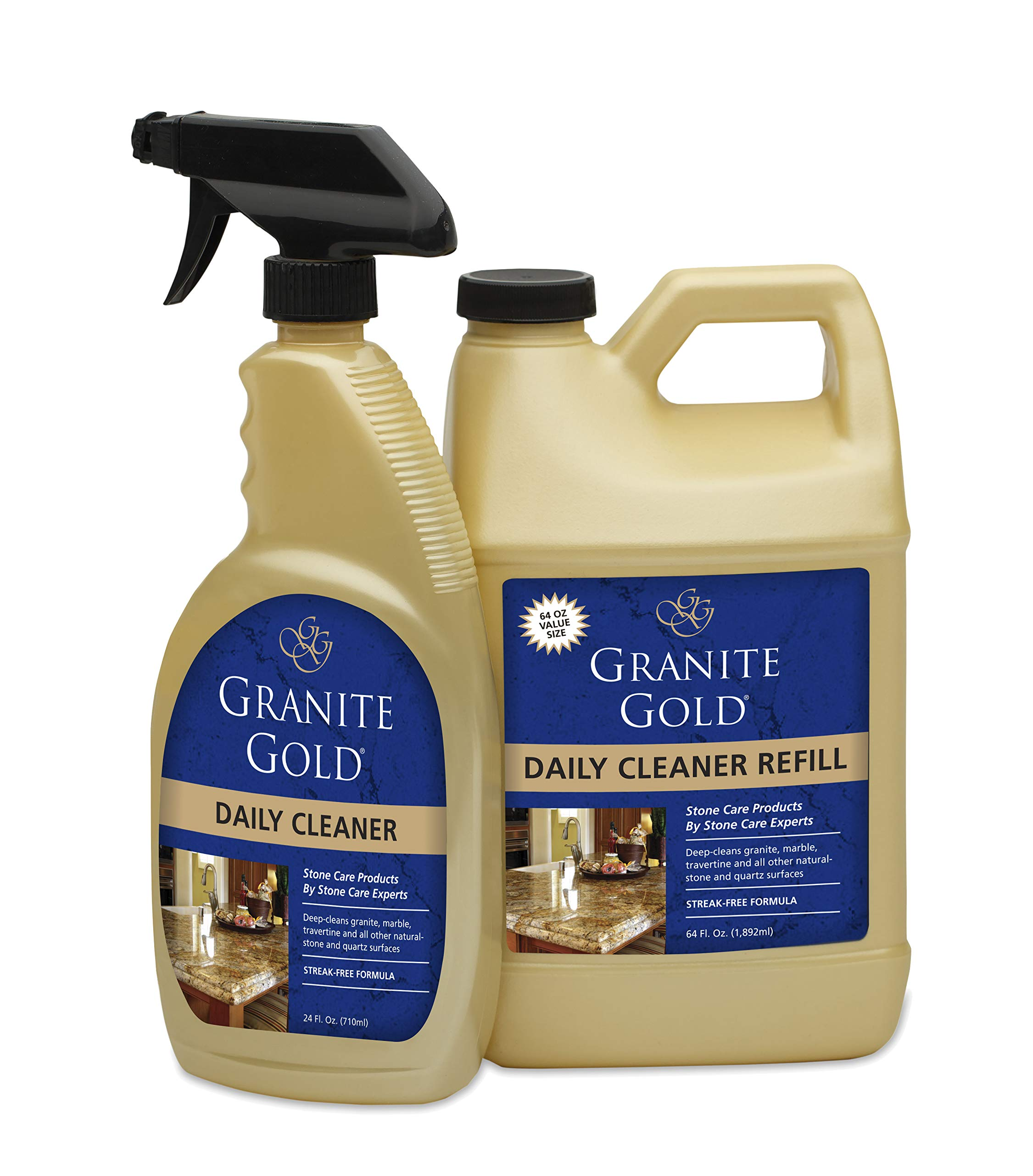 Granite Gold Daily Cleaner Spray And Refill Value Pack - Streak-Free Stone Cleaning Formula, Made In The USA by Granite Gold