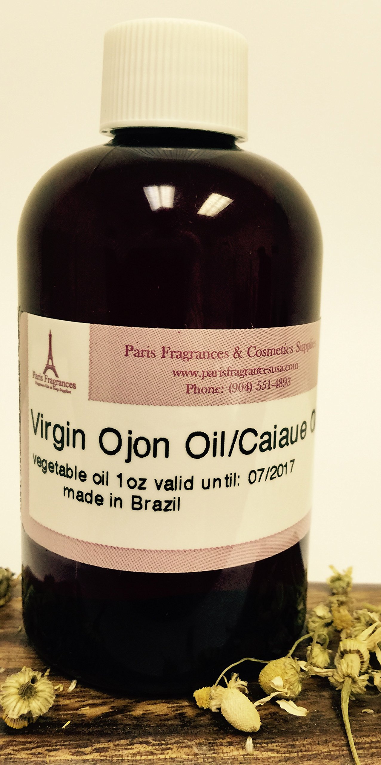 Caiaue Oil (Ojon Oil) - Unrefined & Raw - 1 Oz (30 ml) - Genuine - 100% Natural - Sustainable Product of The Brazilian Amazon - Extraction: Cold Pressed