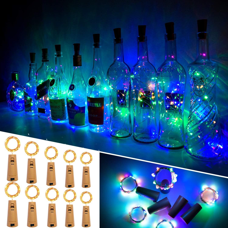 Luces Para Botellas, Ariceleo 10 Piezas 2 Metros 20 LED Cobre Alambre Luces Led para Botellas con Pilas, Corcho Lamparas Cadena Luz de Botella Decorativas Para Fiesta Boda Navidad DIY (Multi Color)