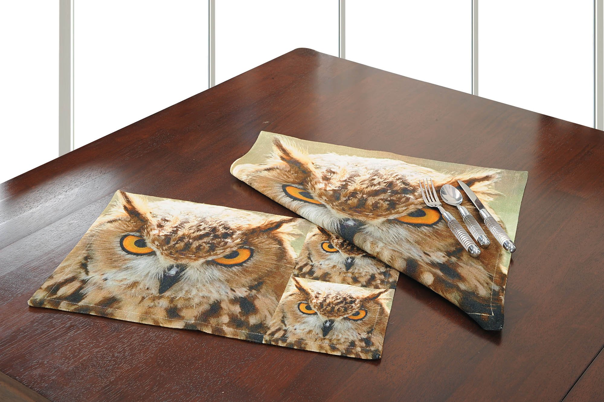 Digitally Printed Mat and Napkin Set Of 6 Cotton Canvas,CAM012-105
