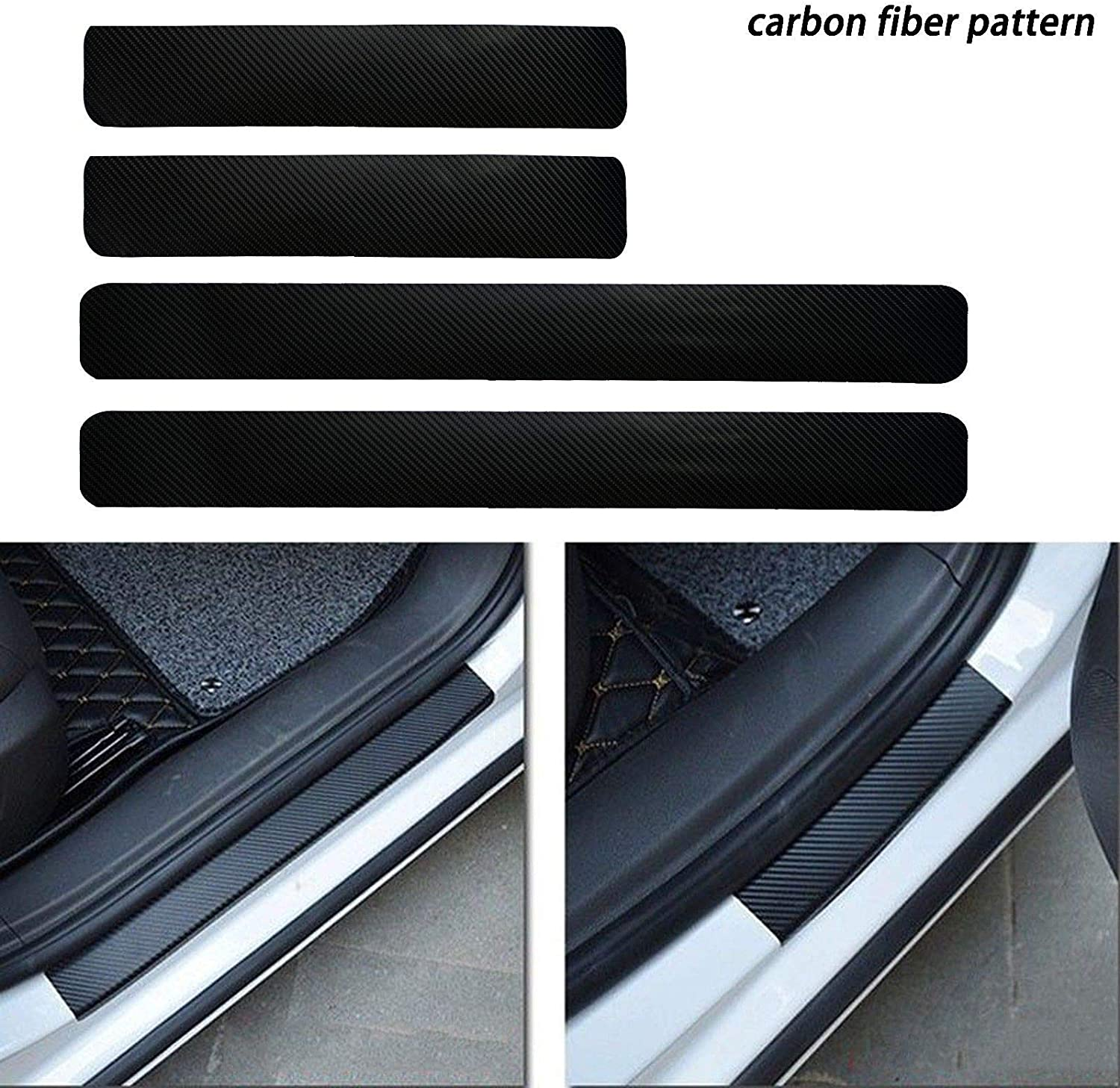 Xotic Tech 4X Carbon Fiber Pattern Door Sill Protector Door Sill Pedal Cover Stickers Bumper Protector Car Interior Accessories Cover Existing Scratch and Door Anti Scratch Decal