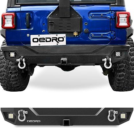 Hunter Rear Bumper with Hitch Receiver /& LED Aluminum Light D-Ring for 2018-2020 Jeep Wrangler JL//JLU