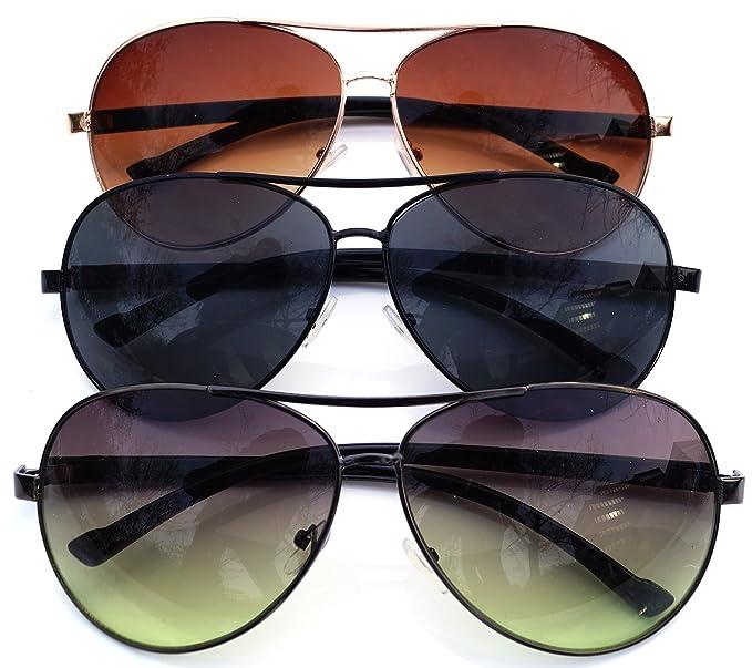 Sonnenbrille Getönt Aviator Pilotenbrille Fliegerbrille Pornobrille (3st.Set Alle Farben) 4cWPxeYND