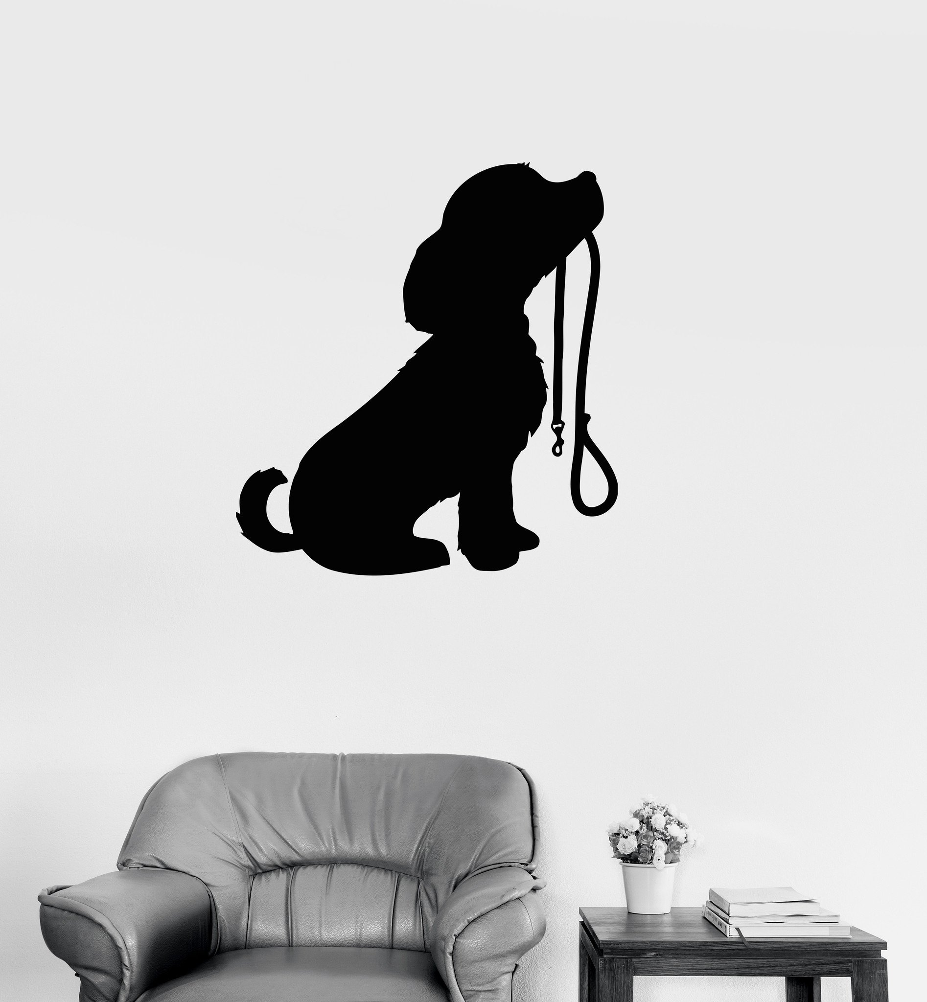 Large Vinyl Decal Cute Puppy Dog Animal Kids Room Baby Wall Sticker Mural (ig101) Brown