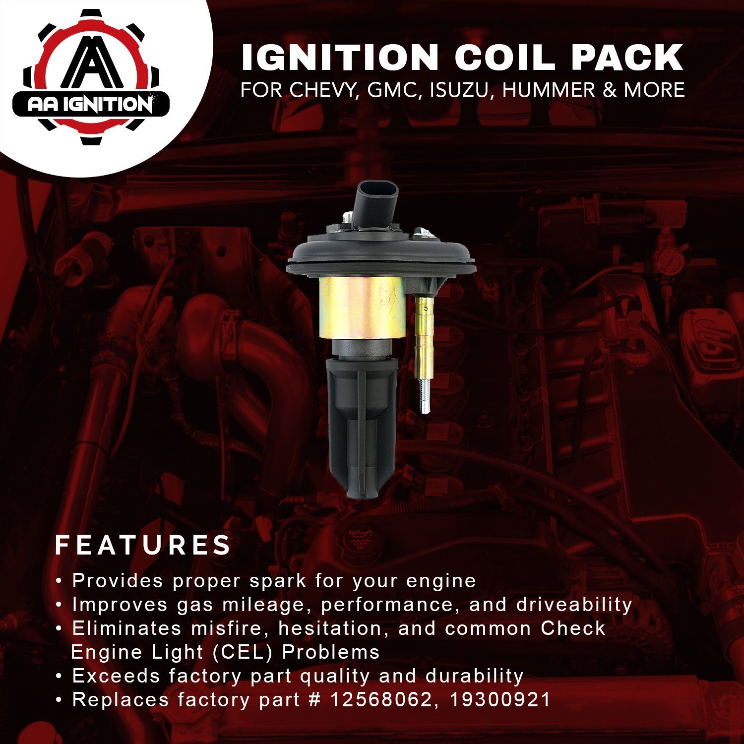 Ignition Coil Pack - Replaces# 12568062, 19300921 - Fits