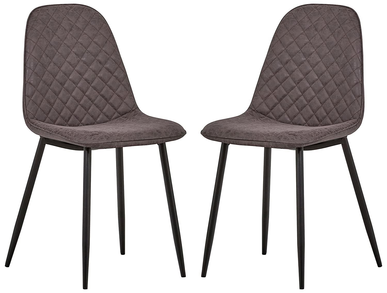 Rivet Ray Mid-Century Modern Kitchen Dining Room Chairs, Set of 2, 34.3 H, Charcoal Faux Leather