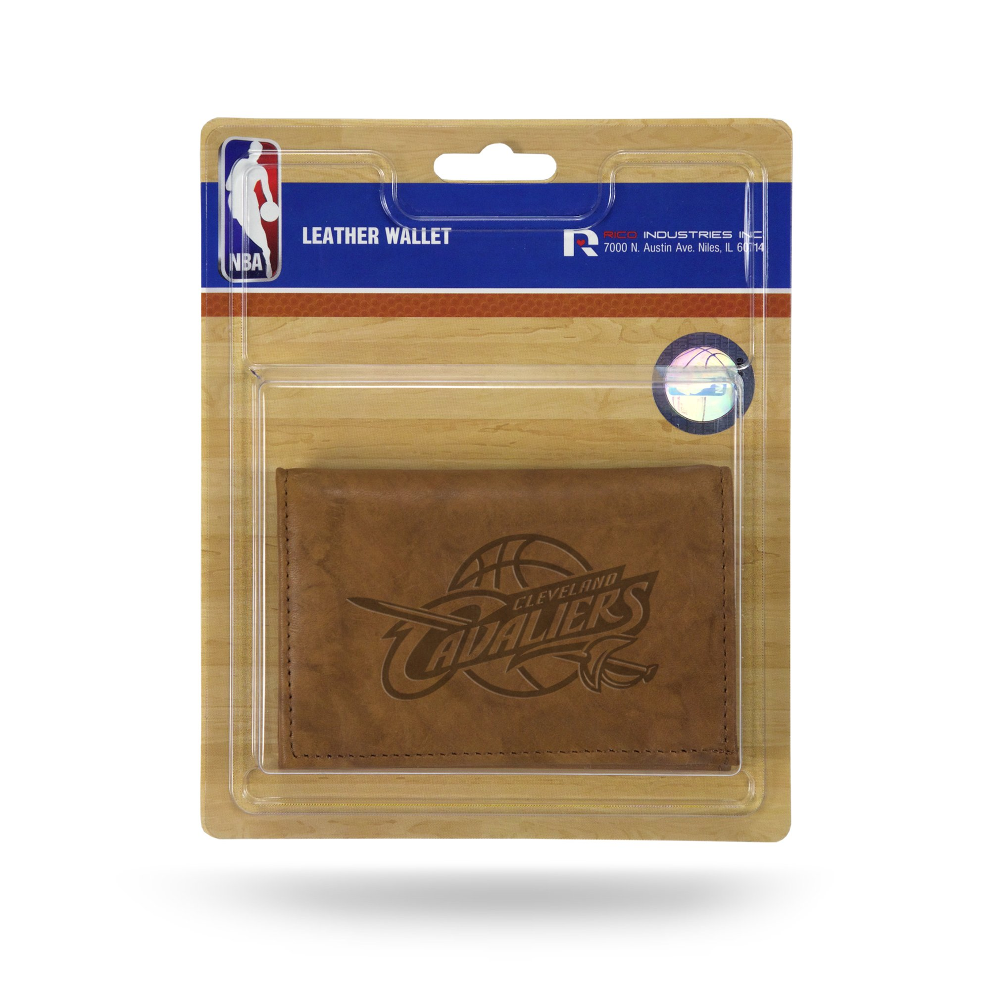 Rico NBA Cleveland Cavaliers Embossed Leather Trifold Wallet with Man Made Interior by Rico