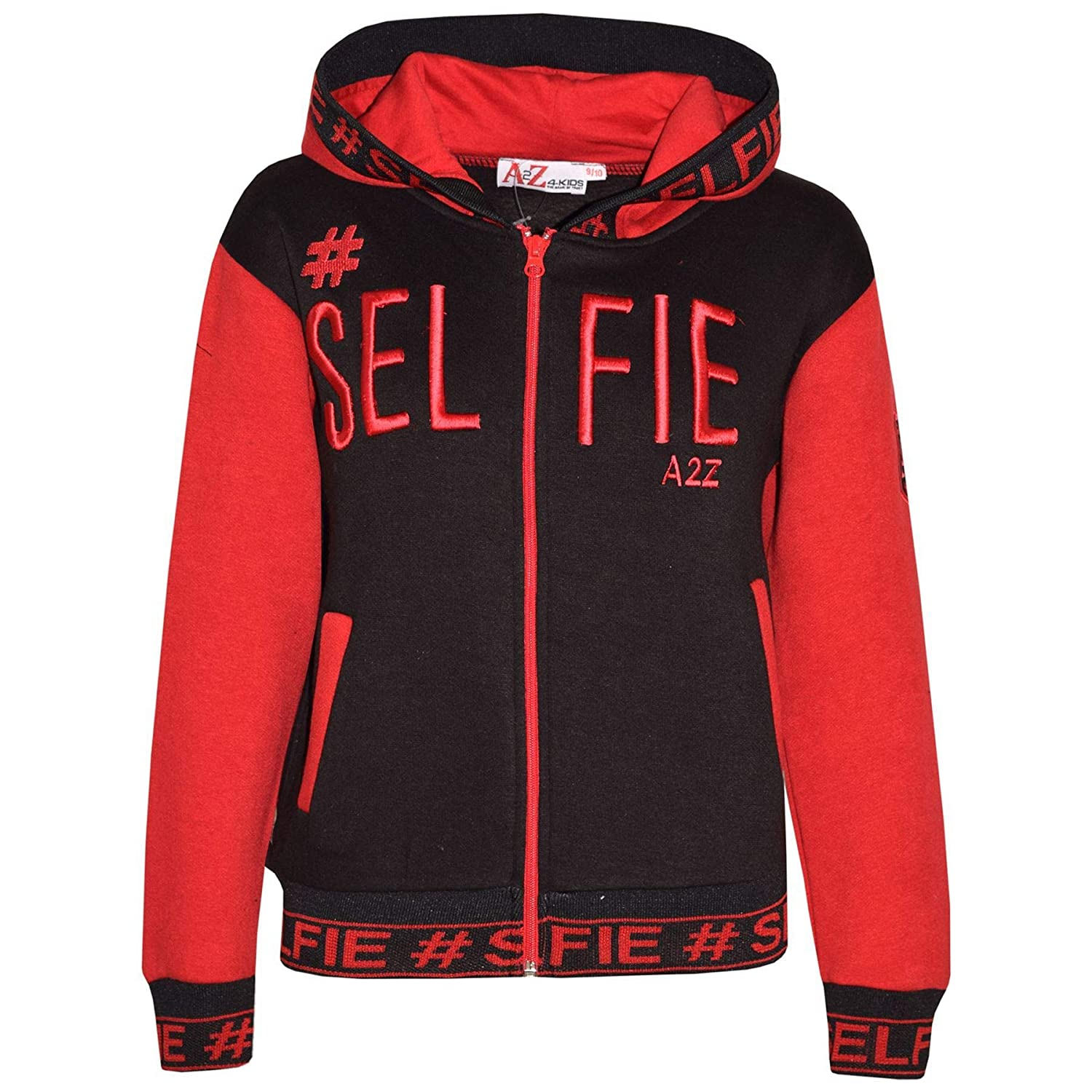 Kids Girls Boys Jackets Designers #Selfie Embroidered Hooded Hoodie Zipped Tops
