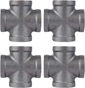 PIPE DÉCOR 1/2 in. Black Malleable Iron Cross, 4 Pack, for DIY Pipe Furniture Building and Regular Plumbing Applications