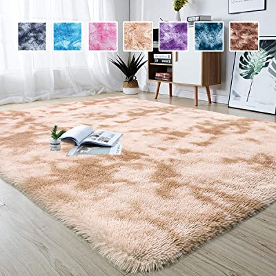 Junovo Modern Abstract Shaggy Area Rugs Fluffy Soft Bedroom Rug for Kids Nursery Girls Boys Ultra Comfy Shag Fur Carpets Nursery Room Living Room Furry Decor Rugs, 5 ft x 8 ft, Camel: Kitchen & Dining